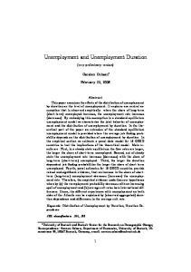 Unemployment and Unemployment Duration