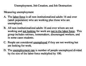 Unemployment, Job Creation, and Job Destruction