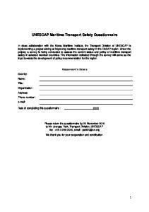 UNESCAP Maritime Transport Safety Questionnaire
