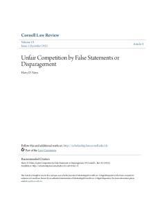 Unfair Competition by False Statements or Disparagement