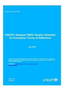 UNICEF-Adapted UNEG Quality Checklist for Evaluation Terms of Reference
