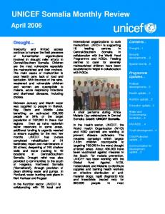 UNICEF Somalia Monthly Review