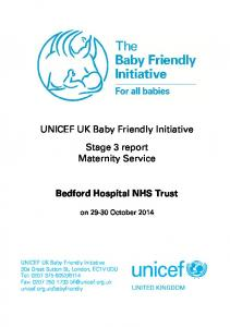 UNICEF UK Baby Friendly Initiative Stage 3 report Maternity Service