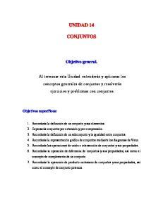 UNIDAD 14 CONJUNTOS. Objetivo general