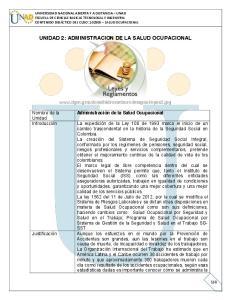 UNIDAD 2: ADMINISTRACION DE LA SALUD OCUPACIONAL