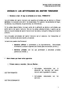 UNIDAD 3: LAS ACTIVIDADES DEL SECTOR TERCIARIO