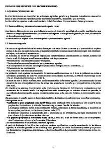 UNIDAD 5 LOS ESPACIOS DEL SECTOR PRIMARIO. 1. LOS ESPACIOS RURALES