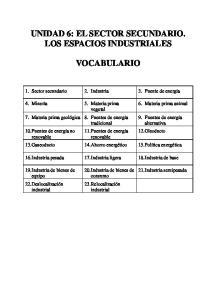 UNIDAD 6: EL SECTOR SECUNDARIO. LOS ESPACIOS INDUSTRIALES VOCABULARIO