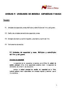 UNIDAD 9. UNIDADES DE MEDIDA. CAPACIDAD Y MASA