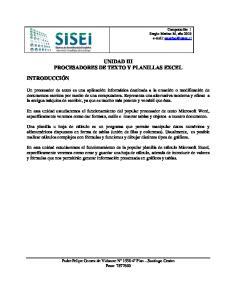 UNIDAD III PROCESADORES DE TEXTO Y PLANILLAS EXCEL