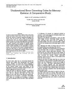 Unidirectional Error Correcting Codes for Memory Systems: A Comparative Study