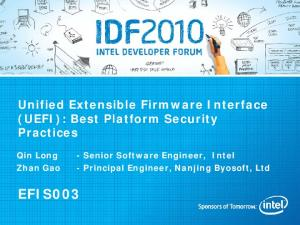 Unified Extensible Firmware Interface (UEFI): Best Platform Security Practices