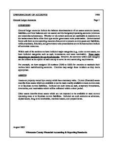 UNIFORM CHART OF ACCOUNTS General Ledger Accounts Page 1