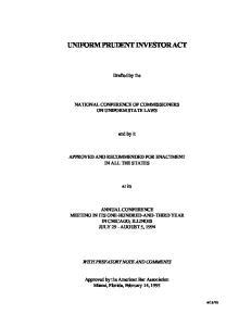 UNIFORM PRUDENT INVESTOR ACT