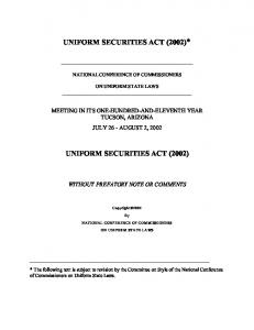 UNIFORM SECURITIES ACT (2002)* UNIFORM SECURITIES ACT (2002)