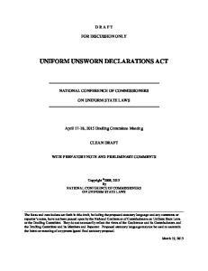 UNIFORM UNSWORN DECLARATIONS ACT