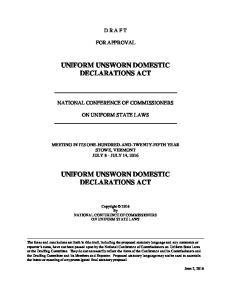 UNIFORM UNSWORN DOMESTIC DECLARATIONS ACT