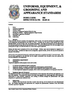 UNIFORMS, EQUIPMENT, & GROOMING AND APPEARANCE STANDARDS