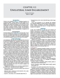 Unilateral Limb Enlargement
