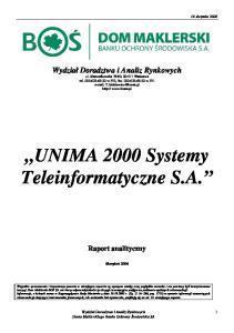 UNIMA 2000 Systemy Teleinformatyczne S.A