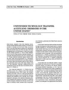 UNINTENDED TECHNOLOGY TRANSFER: ACETYLENE CHEMISTRY IN THE UNITED STATES*
