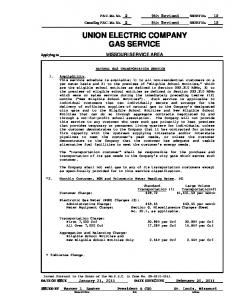UNION ELECTRIC COMPANY GAS SERVICE