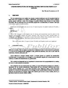 UNIONES ESTRUCTURALES MADERA-MADERA EMPLEANDO TORNILLO Y COPAIBA