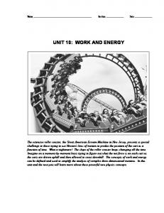 UNIT 10: WORK AND ENERGY