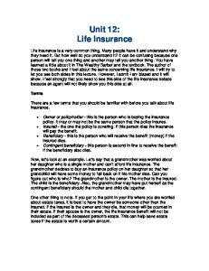 Unit 12: Life Insurance