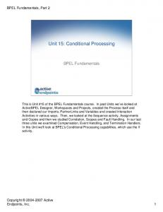 Unit 15: Conditional Processing