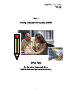 Unit 2. Writing a Research Proposal or Plan