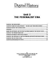 Unit 3 THE FEDERALIST ERA