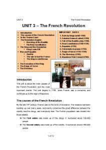 UNIT 3 The French Revolution