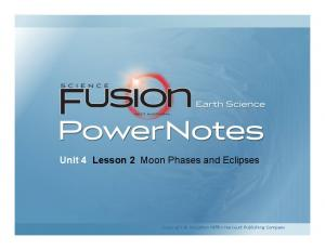 Unit 4 Lesson 2 Moon Phases and Eclipses. Copyright Houghton Mifflin Harcourt Publishing Company