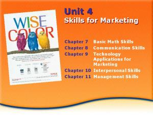 Unit 4 Skills for Marketing. Applications for Marketing Chapter 10 Interpersonal Skills Chapter 11 Management Skills