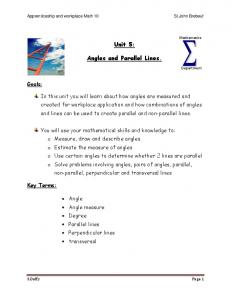 Unit 5: Angles and Parallel Lines