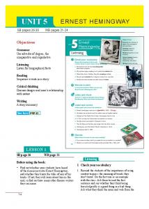 UNIT 5 ERNEST HEMINGWAY LESSON 1. 5 Ernest Hemingway. Objectives. Listening. See box. SB pages WB pages 21-24