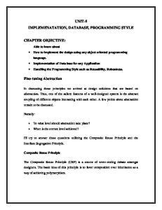 UNIT-5 IMPLEMENATATION, DATABASE, PROGRAMMING STYLE
