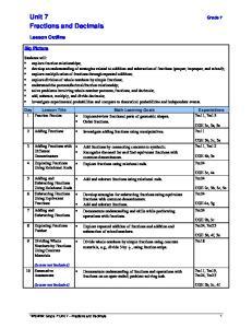 Unit 7 Grade 7 Fractions and Decimals