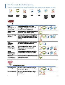 Unit 7 Lesson 1 The Skeletal System