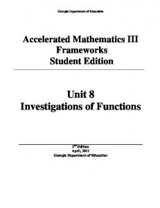 Unit 8 Investigations of Functions