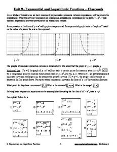 Unit 9 Exponential and Logarithmic Functions Classwork