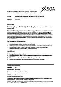 UNIT Aeronautical Electrical Technology (SCQF level 5)