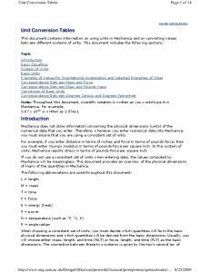 Unit Conversion Tables. Introduction
