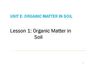 UNIT E: ORGANIC MATTER IN SOIL. Lesson 1: Organic Matter in Soil