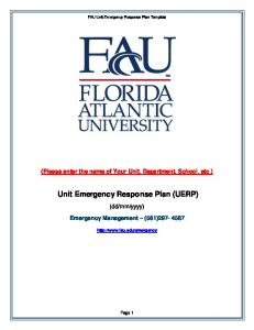 Unit Emergency Response Plan (UERP)