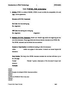 Unit- II HTML, XML & Scripting