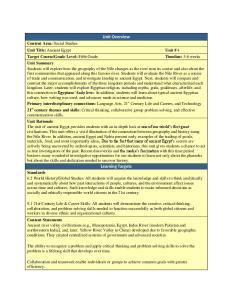 Unit Overview. Unit Title: Ancient Egypt Unit # 4