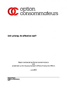 Unit pricing: An effective tool?