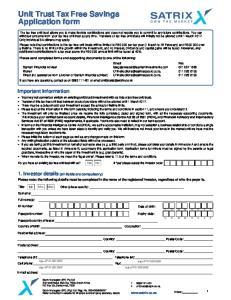 Unit Trust Tax Free Savings Application form